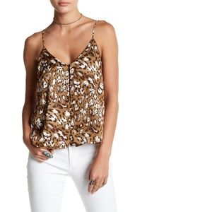 Lush Front Button Cami Top Leopard Print V-Neck